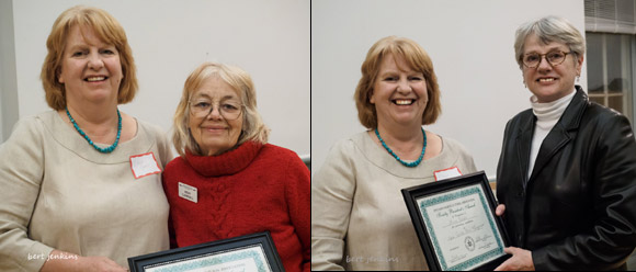 President's awards for Hedy Campbell [L] and Anne Reeves [R]